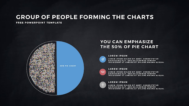 Free PowerPoint Template with Group of People Forming The Pie Chart for Emphasize 50 % Business Area with Dark Backgrounbd