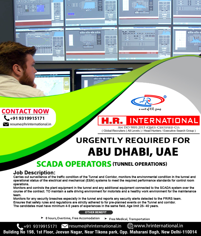 Scada Operators urgently required for Abu Dhabi UAE