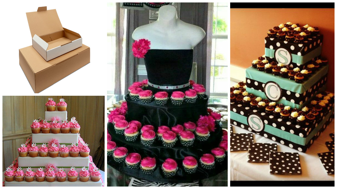 Haz base para bocaditos y cupcakes con cajas recicladas for Decoracion en cupcakes