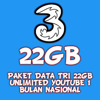PAKET DATA TRI 22GB UNLIMITED YOUTUBE 1 BULAN NASIONAL