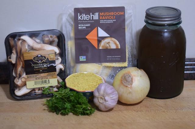 The ingredients need to make the vegan ravioli  Vegan Ravioli with a Mushroom Pan Sauce Recipe