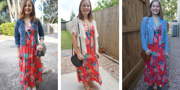 3 ways to layer a bright floral maxi dress kmart tropicana spring autumn away from blue