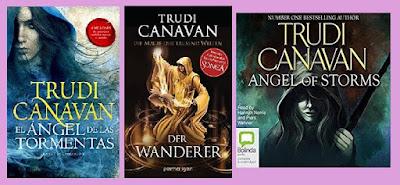 portadas de la novela de fantasía El ángel de las tormentas, de Trudi Canavan