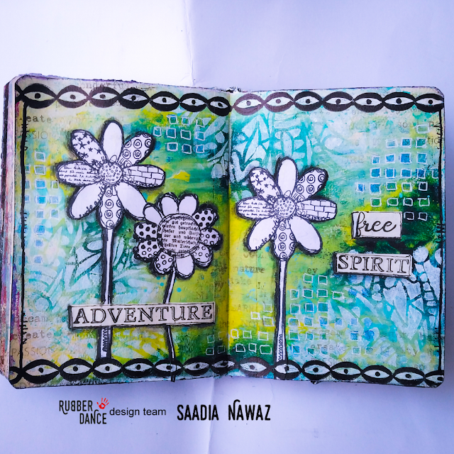 Art journal spread with Rubber Dance stamps, acrylic paints and stencils