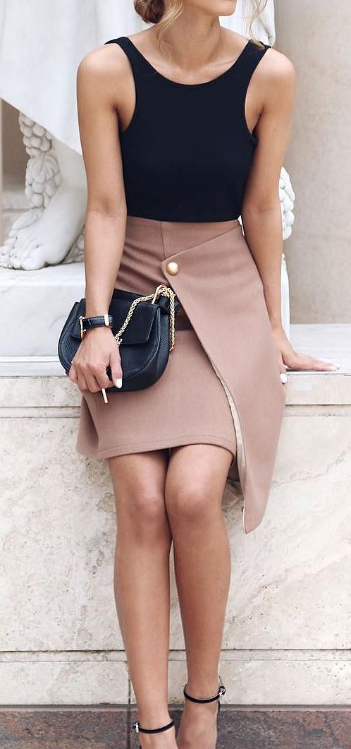 office style inspiration: top + skirt + bag + heels