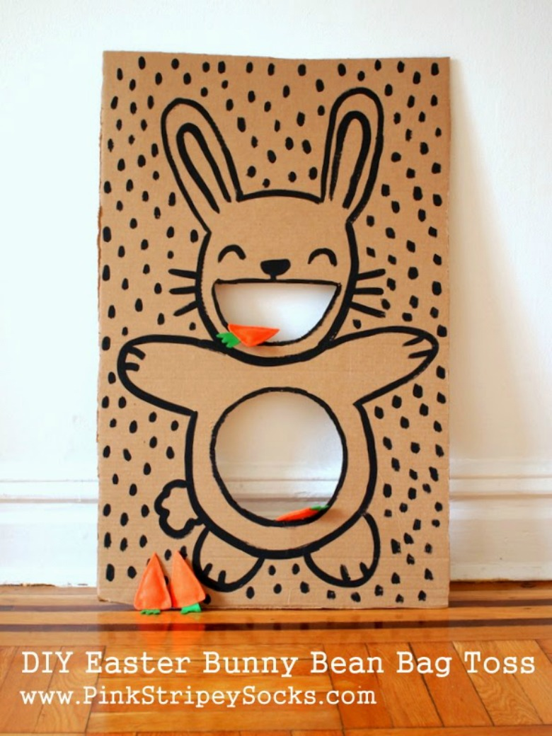 Easter bunny bean bag toss - Easter activities for preschoolers and toddlers