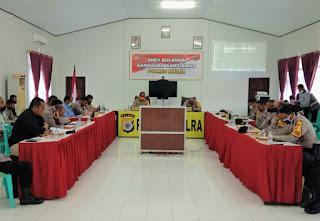 kegiatan Analisa dan Evaluasi  (ANEV) Gangguan Kamtibmas Triwulan II bulan Juli 2020 yang berlangsung Aula Jana Nuraga Polres, Jumat (09/07/2020).