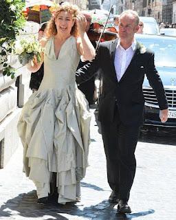 Florian Haertel's ex-wife Alex Kingston in wedding dress with her husband