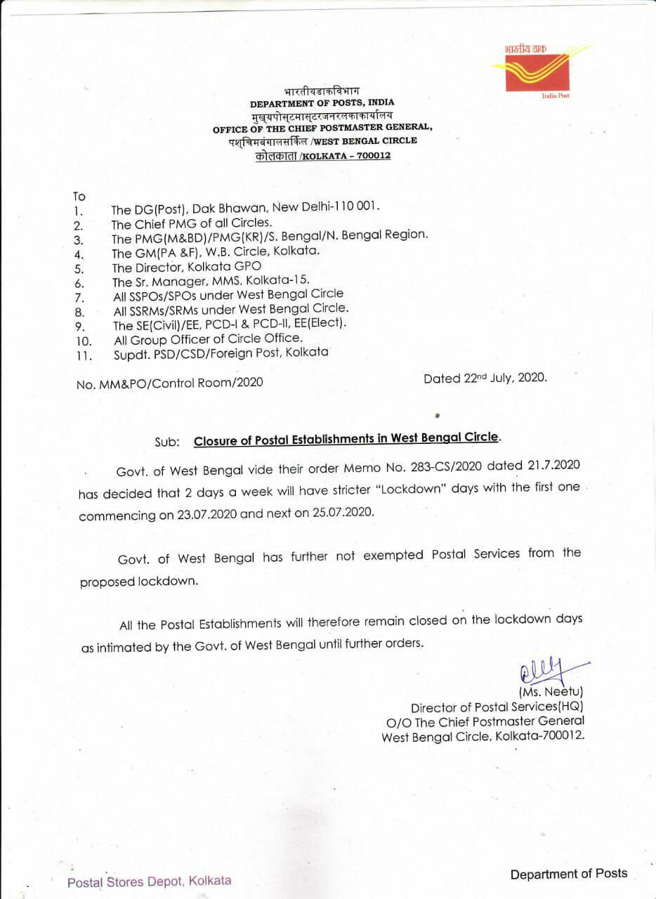 Closure of Postal Establishments in West Bengal Circle during lockdown days