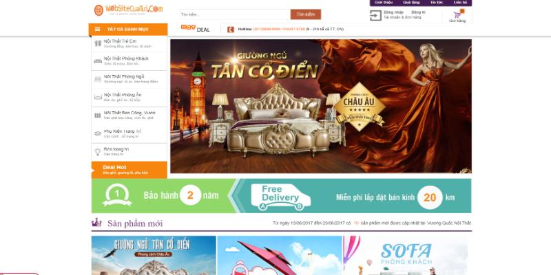 Mẫu website bán nội thất cổ điển miễn phí