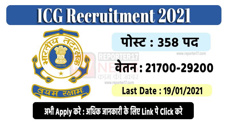 indian cost guard recruitment 2021
