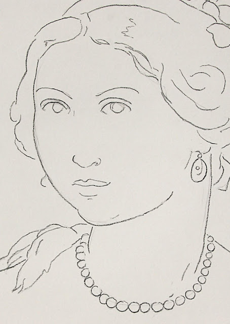 drawing, art, arte, contemporary, sarah, myers, charcoal, simple, style, line, line-drawing, face, fashion, style, dibujo, pearls, ruffles, bows, clouds, portrait, woman, lady, human, figurative, modern, ultracontemporary, detail, close-up, face, eyes, jewellery, sketch