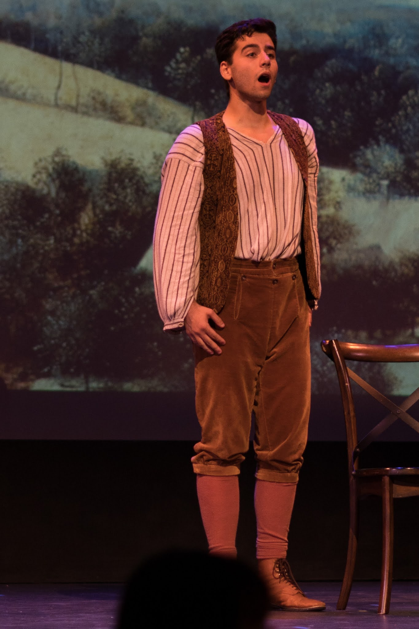 IN REVIEW: tenor JORDAN COSTA as Nemorino in the Sapphire Cast of Opera in Williamsburg's September 2021 production of Gaetano Donizetti's L'ELISIR D'AMORE [Photograph © by Diego Valdez; used with permission]