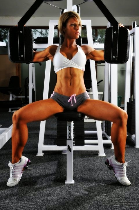 Gorgeous calves in the gym and breast