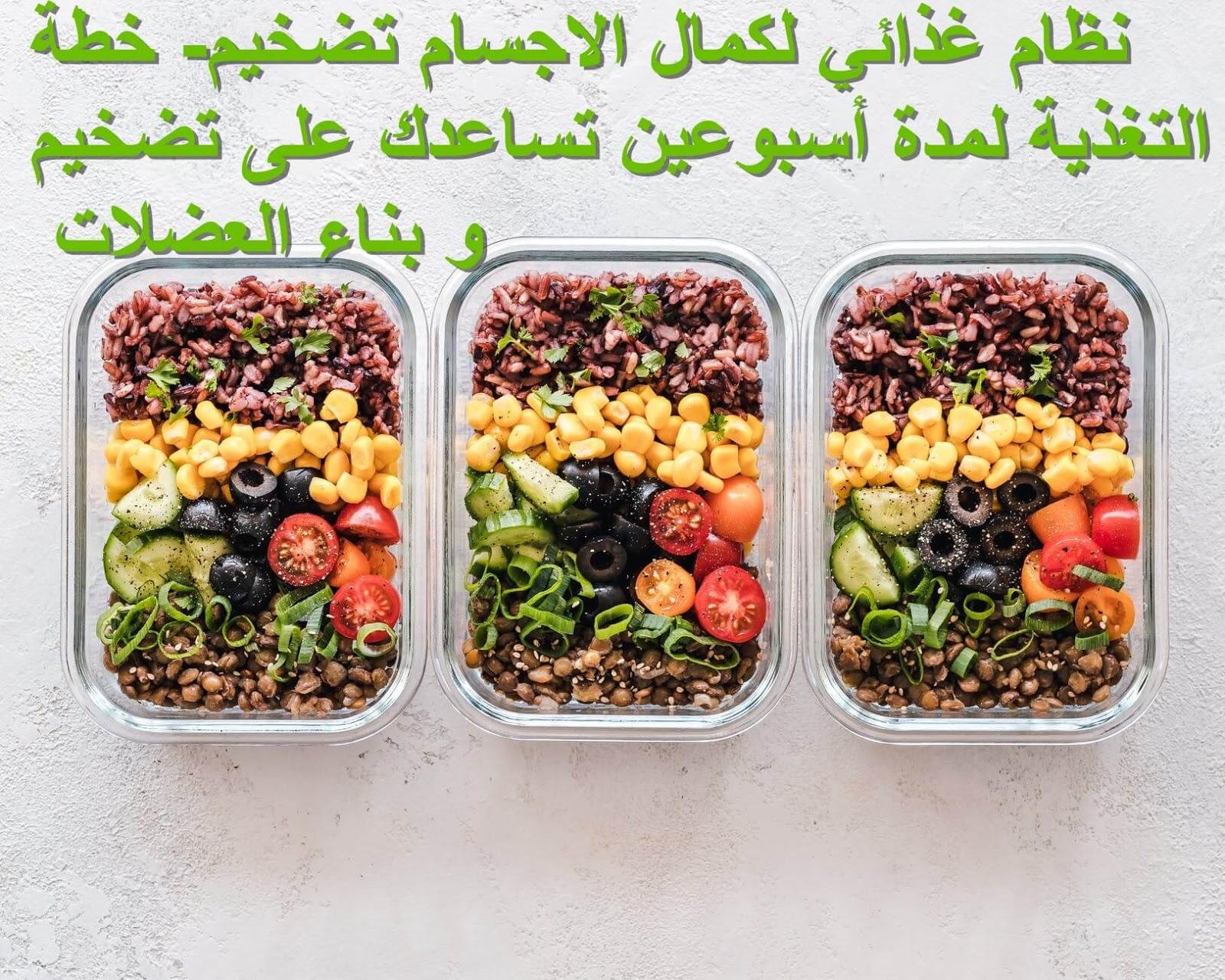 نظام غذائي لكمال الاجسام تضخيم خطة التغذية لمدة أسبوعين تساعدك على تضخيم و بناء العضلات
