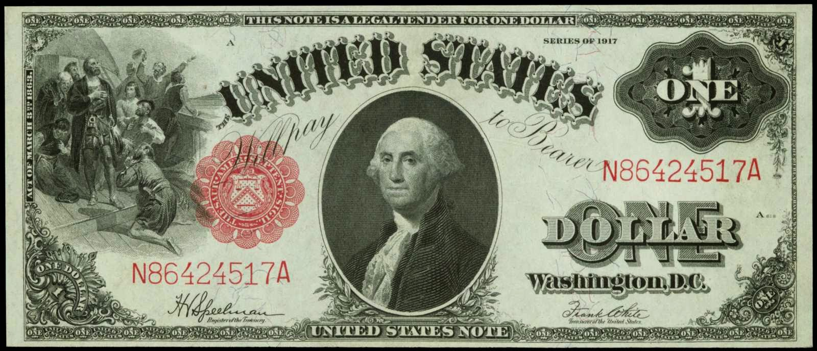 1917 One Dollar Legal Tender Note George Washington