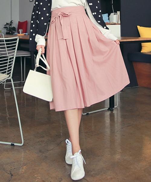 Ribbon-Tie Waist Pleated Midi Skirt