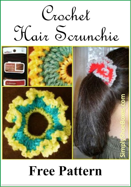 Crochet Hair Scrunchie pattern designed to send in an Operation Christmas Child shoebox.