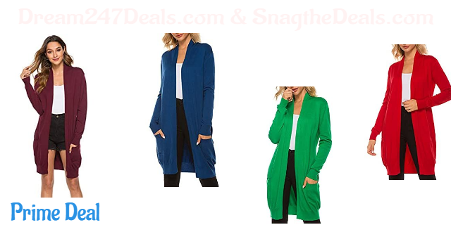 60% off SimpleFun Womens Basic Fall Long Sleeve Lightweight Open Front Long Knit Cardigan Sweaters with Pockets