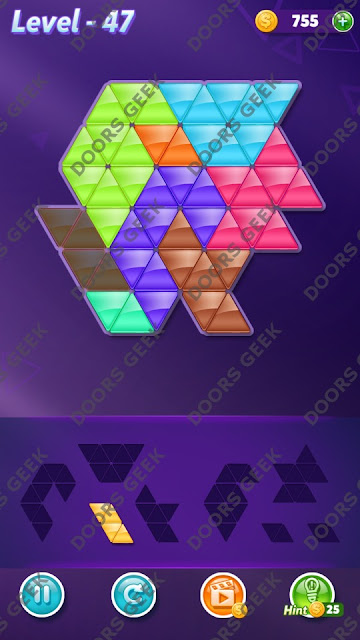 Block! Triangle Puzzle 8 Mania Level 47 Solution, Cheats, Walkthrough for Android, iPhone, iPad and iPod
