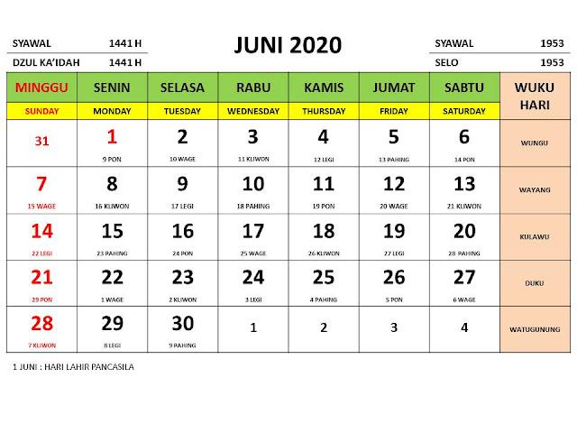 Kalender 2020 Jawa Bulan Juni