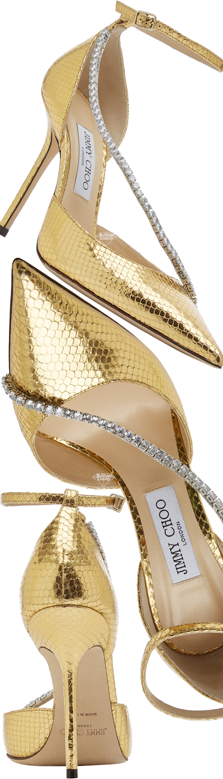Jimmy Choo Talika Golden Crystal-Embellished Metallic Snake-Effect Leather Pumps #brilliantluxury
