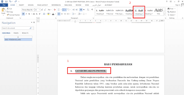 heading style in word