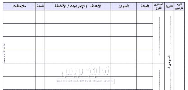 مذكرة يومية خاصة بتدبير حصص الدعم والتقويم التشخيصي