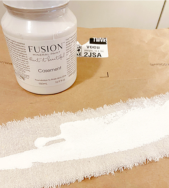 fusion mineral paint in white on banner strip