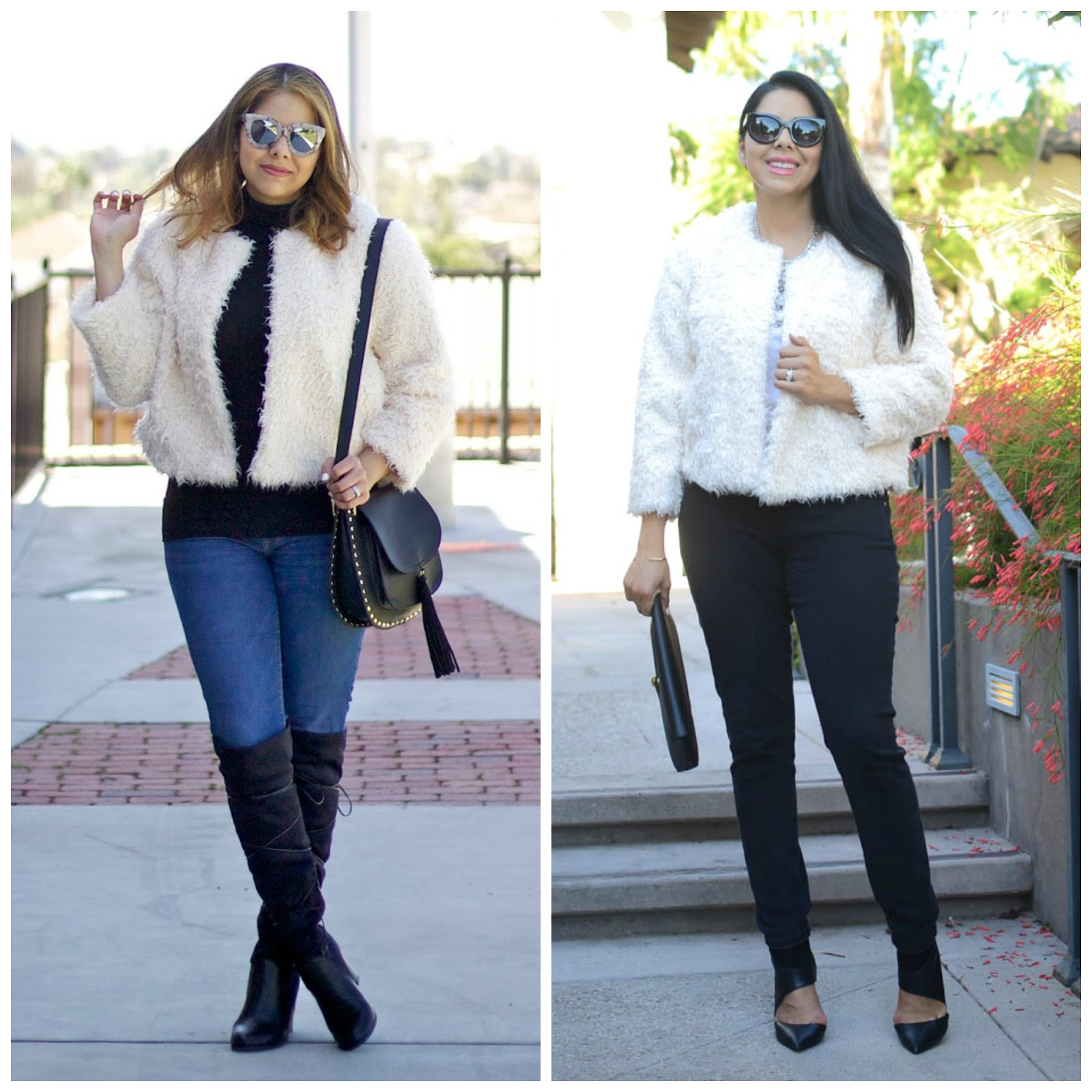 one jacket two ways, quay sunglasses in outfit, shoedazzle over the knee boots, how to wear a jacket two ways