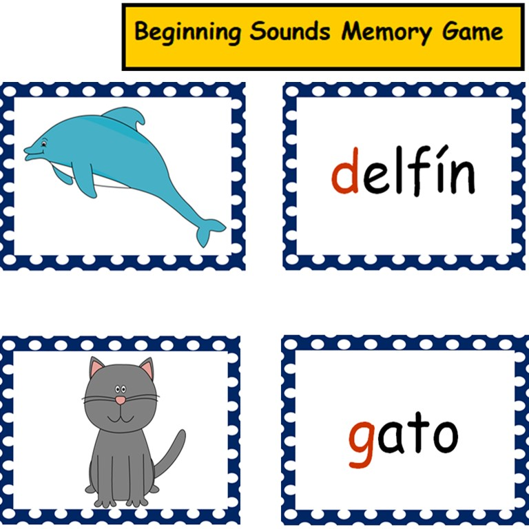 Beginning Sounds Memory Game in Spanish