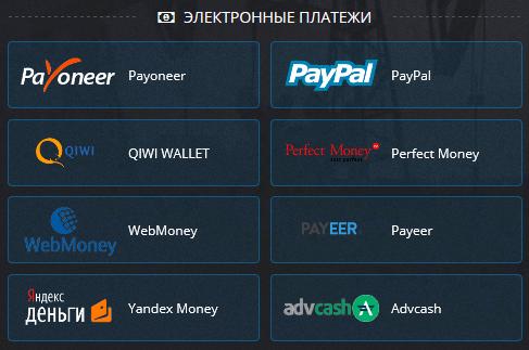 Электронные платежи Pocket Option