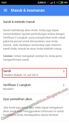 cara ganti password gmail lewat hp android