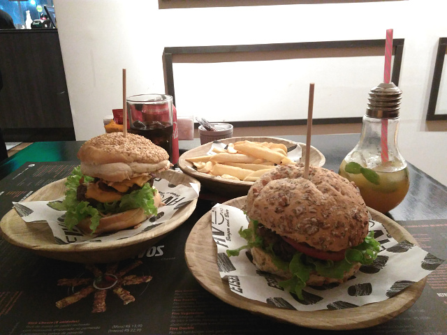 2 burgers and drinks at Five bar and food.