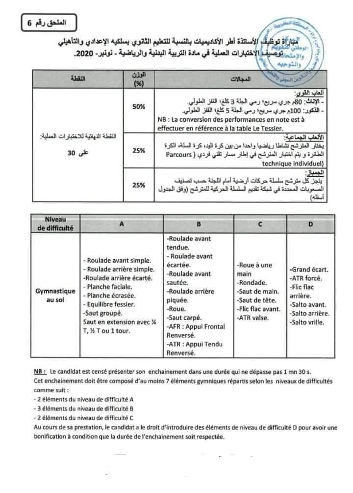 توصيف الاختبارات العملية مادة التربية البدنية دورة نونبر 2020