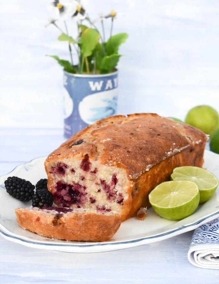 blackberry loaf cake, sliced