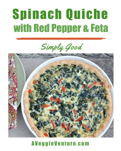 Spinach Quiche with Red Pepper & Feta, another classic spinach recipe ♥ AVeggieVenture.com, creamy custard packed with fresh or frozen spinach in a homemade or refrigerated crust. Budget Friendly. Company Worthy.