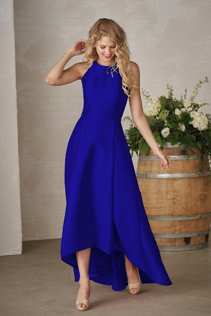 Dresses your bridesmaids will love and can wear again after the wedding - wedding dress ideas - blue jewel neckline satin back dupioni high-low dress - wedding ideas blog - K'Mich Weddings Philadelphia - jasminbridal.com