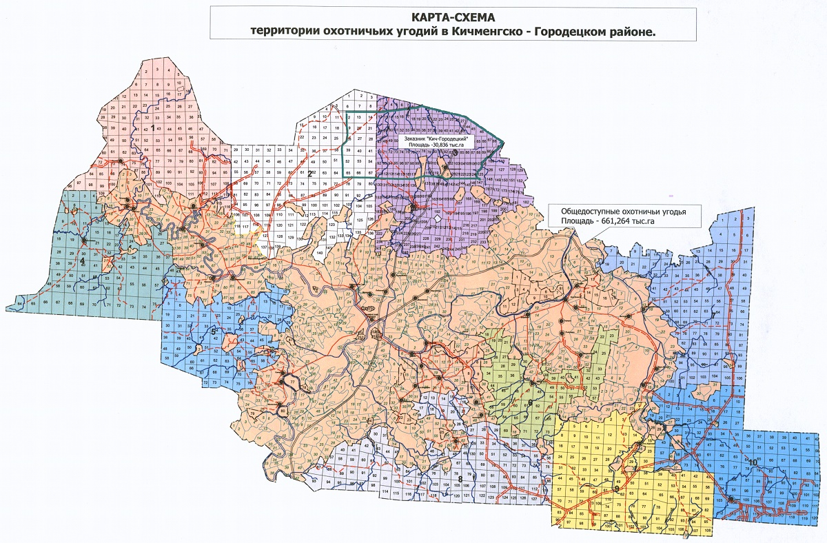 Карта охотугодий Кич-Городецкого района