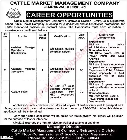 Latest Jobs in Pakistan Cattle Market Management Company Gujranwala