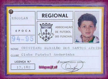 Card of Cristiano Ronaldo in 1994.