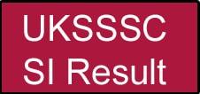 UKSSSC SI Result