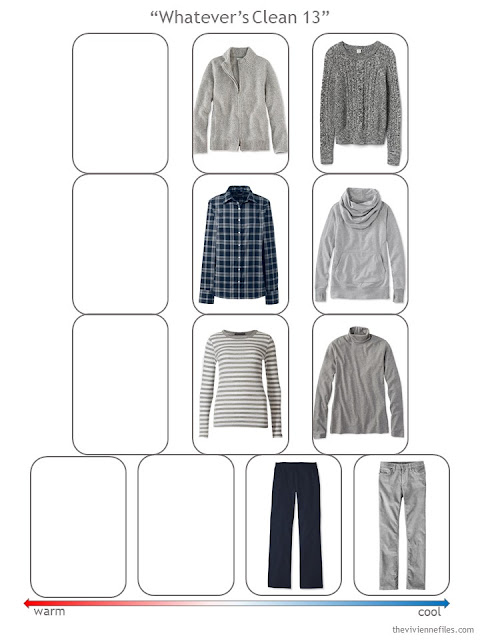 step 2 of a Whatever's Clean wardrobe in navy and grey