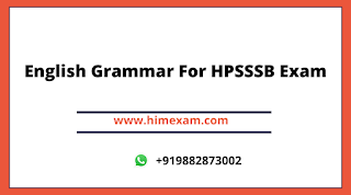 English Grammar For HPSSSB Exam