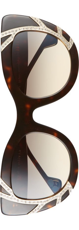 Alice+Olivia Delancey Crystal 50mm Cat Eye Sunglasses