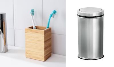 IKEA Dragan Bambu Diş Fırçalık ve Flosoft FT669 Metal Çöp Kovası Ürün İncelemesi
