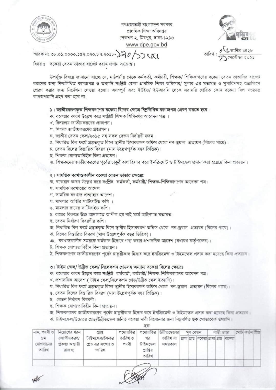 কর্মকর্তা, কর্মচারী, শিক্ষকগণের বকেয়া বেতন ভাতাদির বাজেট বরাদ্দের জন্য প্রয়োজনীয় কাগজপত্র ও তথ্যাদির তালিকা।