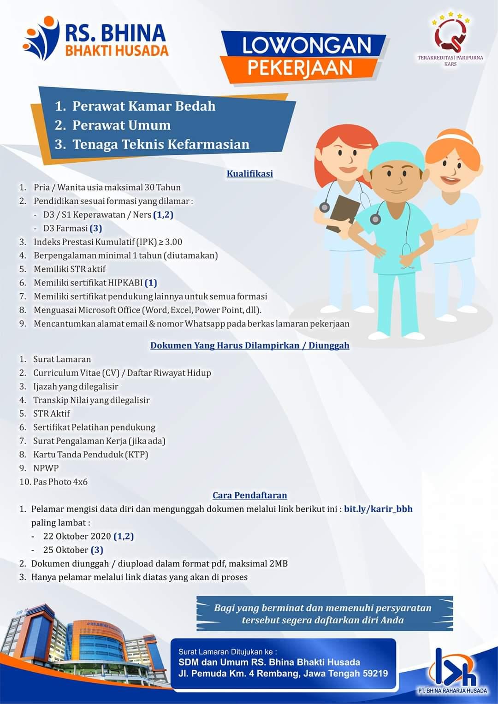 Lowongan Kerja Perawat 2 Perawat Dan Tenkisi Rumah Sakit Bhina Bhakti Husada Rembang