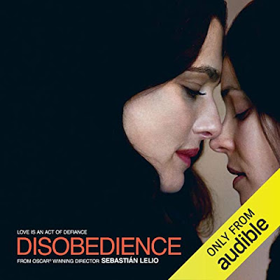 Audible cover of disobedience by naomi alderman featuring two women nearly kissing