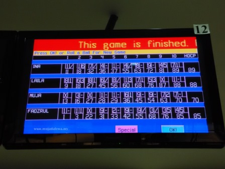 bowling score board, papan markah boling, main boling, pacific bowl kb mall